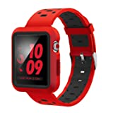 EloBeth for Apple Watch Band 42mm with Case, Shock-Resistant Protective Case Soft Silicone Sport Strap iWatch Band for Apple Watch Band Series 3/2/1 Nike+ Sport Edition(Red/Black, 42mm) (Color: Red/Black, Tamaño: 42 mm)