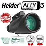 Heider Ally5 Monoscope 12x50 Compact Monocular Scope Waterproof, Fogproof - Zoomable Optic - Hunting Accessories - Bright and Clear - For Bird Watching or Wildlife - MAXIMIZE YOUR OBSERVATION SKILLS!