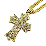 Iced Out CZ Cross 14K Hip Hop Gold Plate Jewelry Bling Bling Pendant Necklace 30