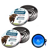 Bayer Seresto Flea and Tick Collar for Dogs, 8 Month Protection for Large Dogs 2 Pack W/HotSpot Pets Travel Bowl