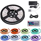 16.4ft LED Flexible Light Strip,12V DC Waterproof Flexible Light Strips, RGB 300 LEDs SMD 5050 Light Strip Kit with 44Key Remote Controller,Power Supply for Kitchen Bedroom Car Party (Color: Multicolor)