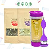30 Day Detox Tea Kit for Teatox & Weight Loss to get a Skinny Tummy by Teami Blends   Our Best Colon Cleanse Blend to Raise Energy, Boost Metabolism, Reduce Bloating! (Big Purple Tumbler & Infuser) (Tamaño: Kit + 600ML Tumbler)