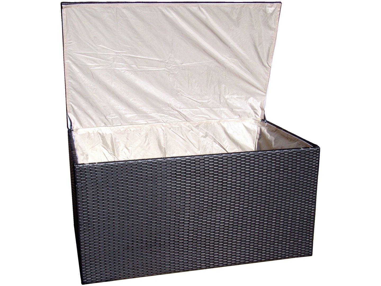 Auflagenbox / Gartentruhe für Polster Polyrattan schwarz inkl. Wetterschutz - Modell 2016