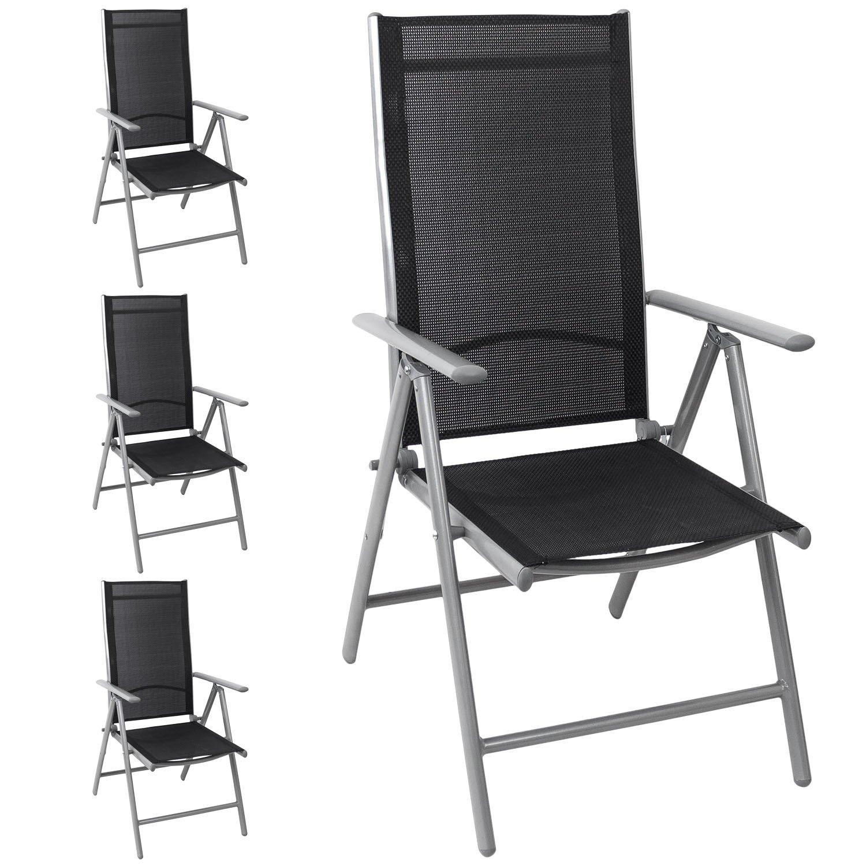 4x Aluminium Gartenstuhl Hochlehner, hochwertige 4×4 Textilenbespannung, 8-fach verstellbar, klappbar, Silber/Schwarz – Liegestuhl Positionsstuhl Klappstuhl Terrassenmöbel Balkonmöbel Gartenmöbel bestellen