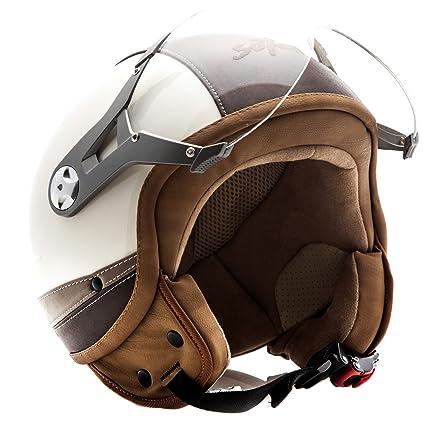 SOXON SP-325 Urban creme - Cuir casque JET Vespa moto Cruiser Pilot - Taille: XS S M L XL