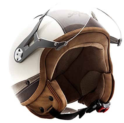 SOXON SP-325 Urban blanc - Cuir casque JET Vespa moto Cruiser Pilot - Taille: XL