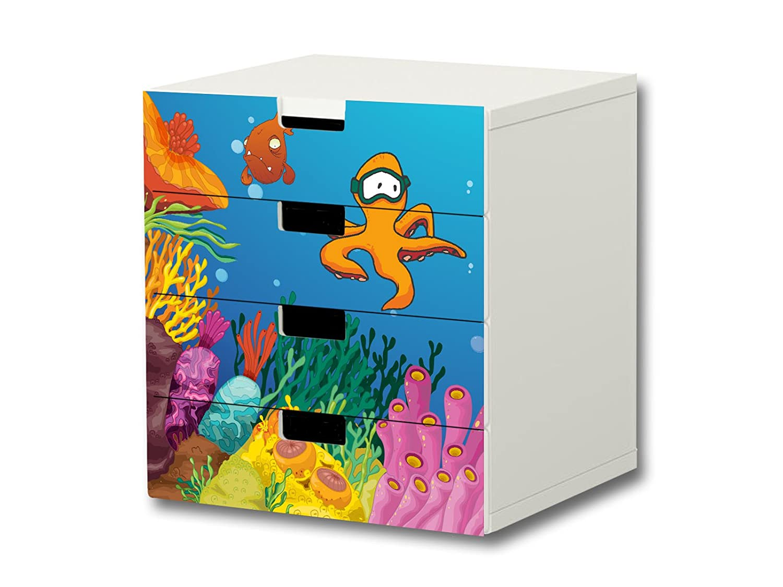 """""""Unterwasserwelt"""" Möbelsticker / Aufkleber – S4K03 – passend für die Kinderzimmer Kommode mit 4 Fächern / Schubladen STUVA von IKEA – Bestehend aus 4 passgenauen Möbelfolien (Möbel nicht inklusive) günstig bestellen"""