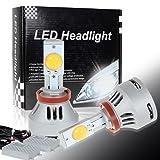 Partsam 2pcs Headlight Low Beam 6400Lumens Warm White H8 H16 H11 Cree-MTG2 Super Bright LED Projector (Color: H8/H11/H15)