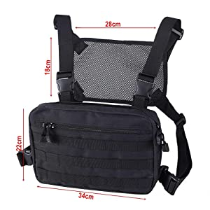 abcGoodefg Tactical Chest Rig, Molle Radio Chest Harness Holder Holster Vest for Two Way Radio Walkie Talkies