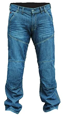 ROUGE ROUTE RED015 BIKER MOTO JEAN MOTO JEAN KEVLAR BLEU/REGULAR PaNTALON LONG/SHORT) J & S