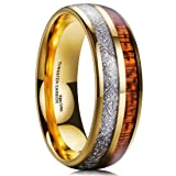 King Will Meteor Men Wedding Band Gold Plated Domed Tungsten Ring 8mm Imitated Meteorite Koa Wood Inlay Comfort Fit 8