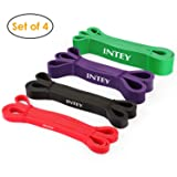 INTEY Pull up Assist Band Exercise Resistance Bands for Workout Body Stretch Powerlifting Set of 4 (Color: Set of 4 Bands, Tamaño: Set of 4 Bands)