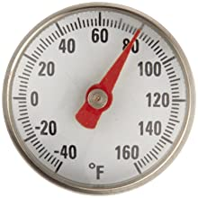 "Supco ST01 Stainless Steel Pocket Dial Thermometer, 5"" Stem, 1"" Dial, -40 to 160 Degree F"