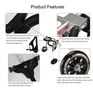 GF Dog Wheelchair Pet Prosthesis Dog Wheelchair Rear Limb Disability ?? pet Scooter hind Leg Assist Adjustable Dog Wheelchair (Color : A, Size : L) (Color: A, Tamaño: L)