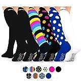 Go2Socks Compression Socks (6 Pairs) for Men Women Nurses Runners 16-22 mmHg (Medium) - Medical Stocking Maternity Travel - Best Performance Recovery Circulation Stamina - (Ladies, Small 6Pk) (Color: 6Pk - (2)Black, Stripe, Black Dot, Blue Dot, White, Tamaño: Small)