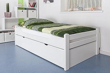 """Holzbett / Gästebett """"Easy Sleep"""" K1/1h inkl. 2. Liegeplatz und 2 Abdeckblenden, 90 x 200 cm Buche Vollholz massiv weiß lackiert"""