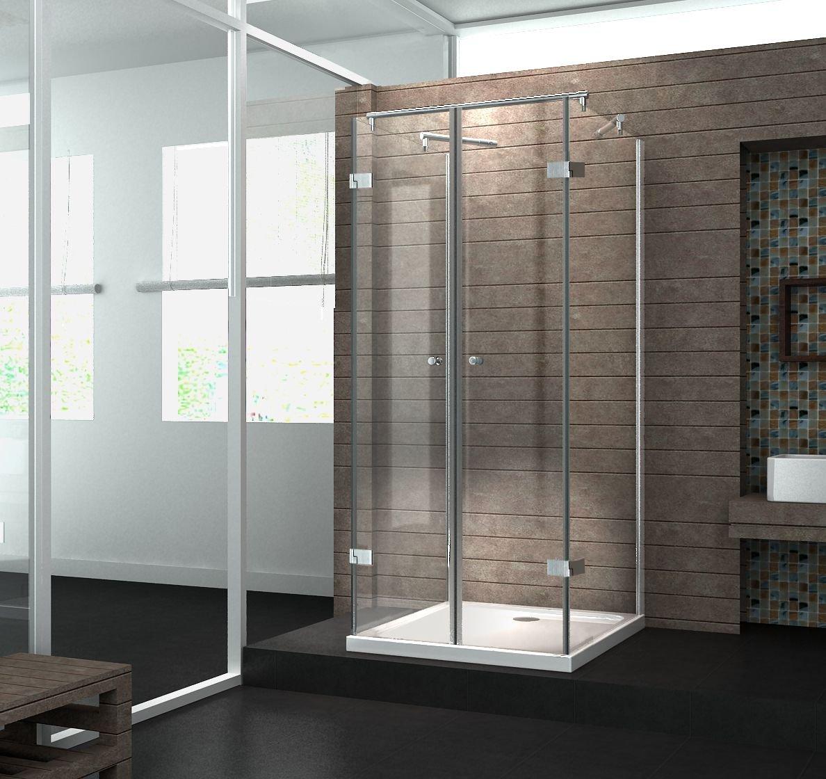 UDuschkabine 8 mm Designer Duschabtrennung Dusche Echt Glas 90 x 90 x 195 cm AVILO ohne Duschtasse  Kundenbewertung und weitere Informationen