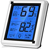 Large Touchscreen Digital Hygrometer Indoor Thermometer Humidity Monitor with Backlight for Home, Office, Nursing Room, Greenhouse, Warehouse and More (Battery Included) (Color: Jumbo Touchscreen With Backlight)