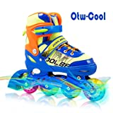 Otw-Cool Adjustable Inline Skates for Kids Boys Skates with All Wheels Light up, Safe and Durable Inline Roller Skates for Boys (Color: Vibrant Blue, Tamaño: Small-Little Kid (12-2 US))