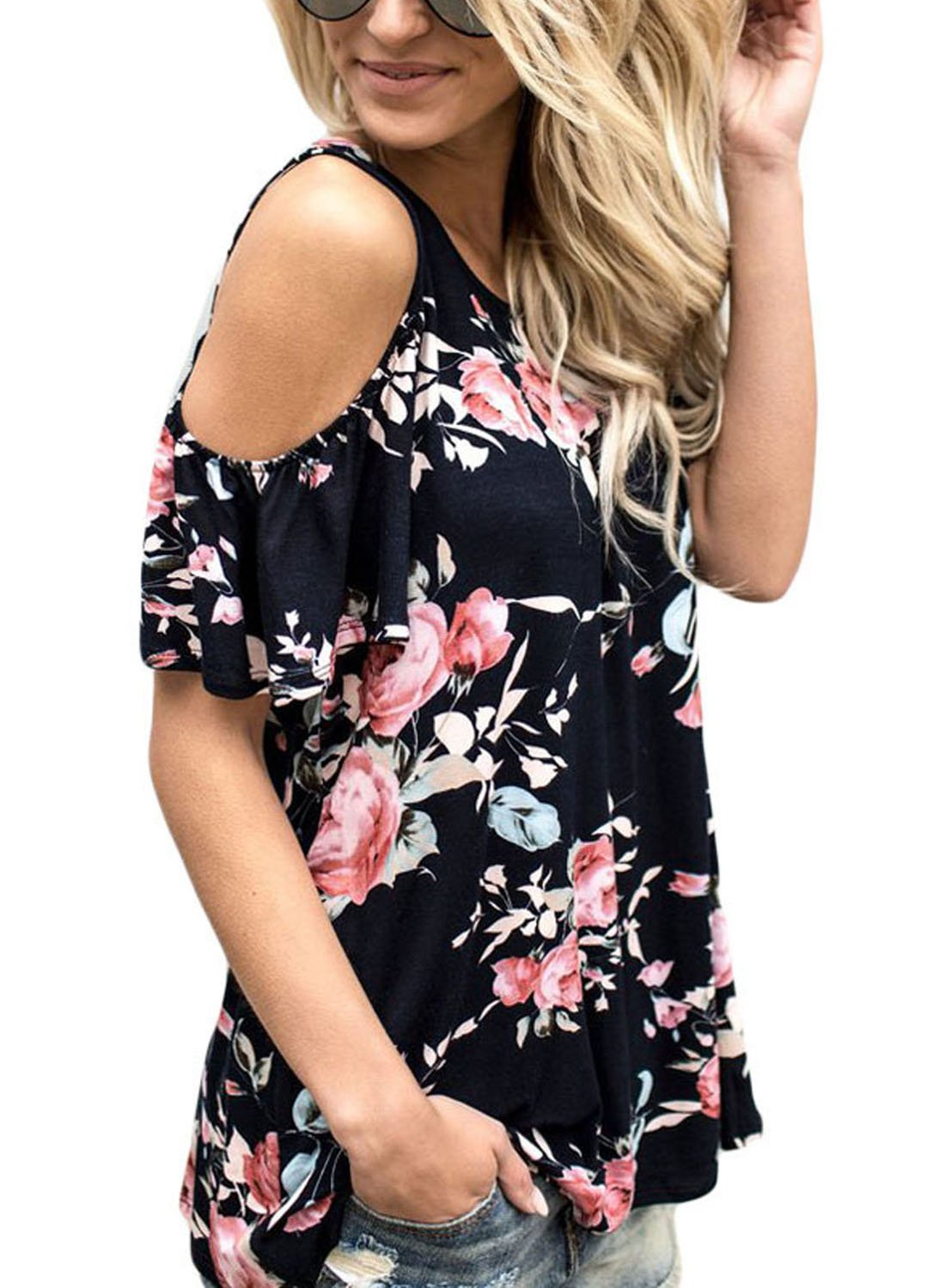 Short Sleeve Cut Out Shoulder Floral Print Blouse