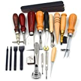 Yang Yao Leather Carft Punch Tools Kit 18pcs Stitching Carving Working Sewing Saddle Groover Leather Craft DIY Tool (Color: leather tool set)