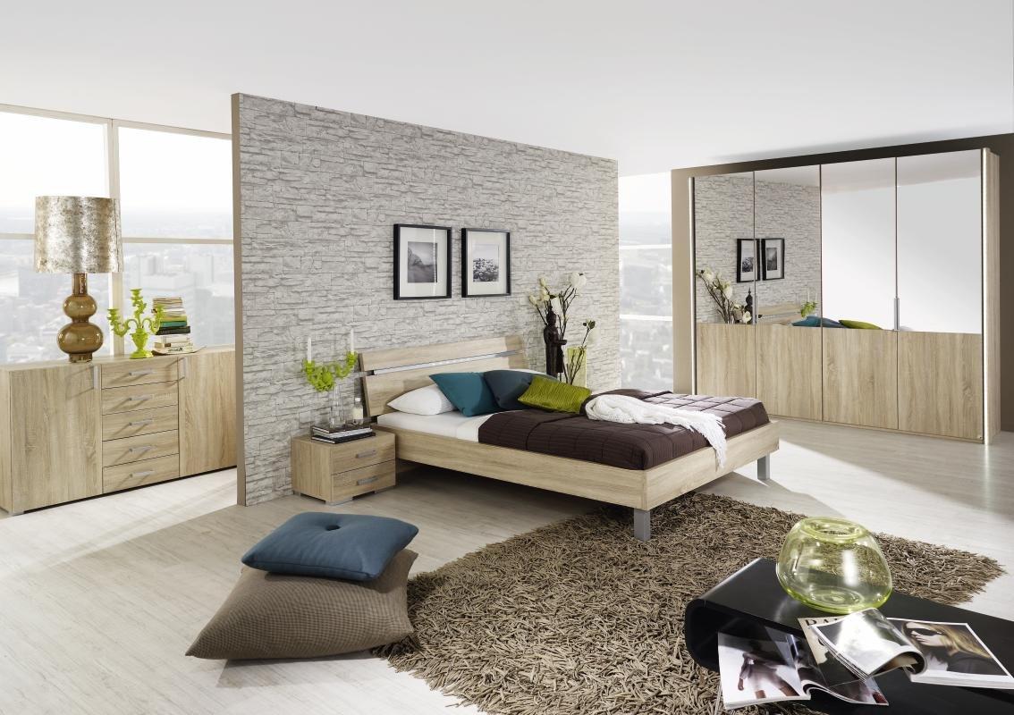 Schlafzimmer mit Bett 140 x 200 cm in Eiche Sonoma günstig kaufen