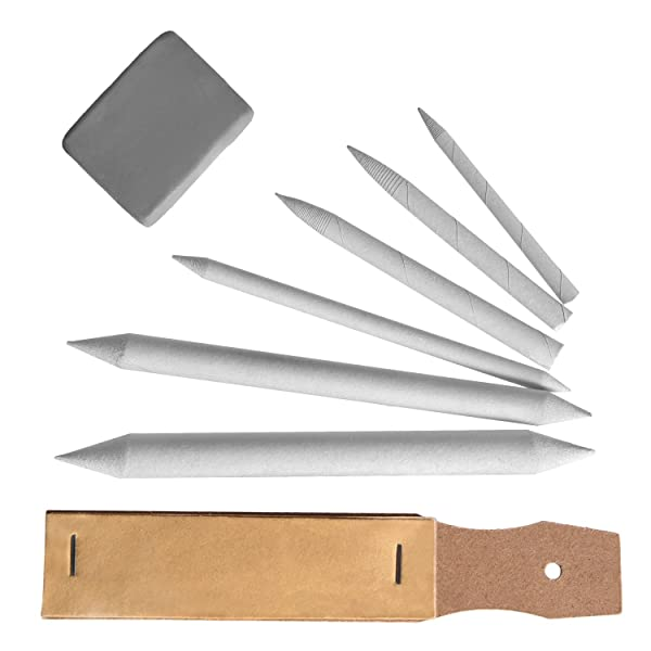eBoot Drawing Accessories Set Blending Stumps and Tortillions Pencil Sandpaper Pointer with Kneaded Eraser, 8 Pieces (Color: Grey)