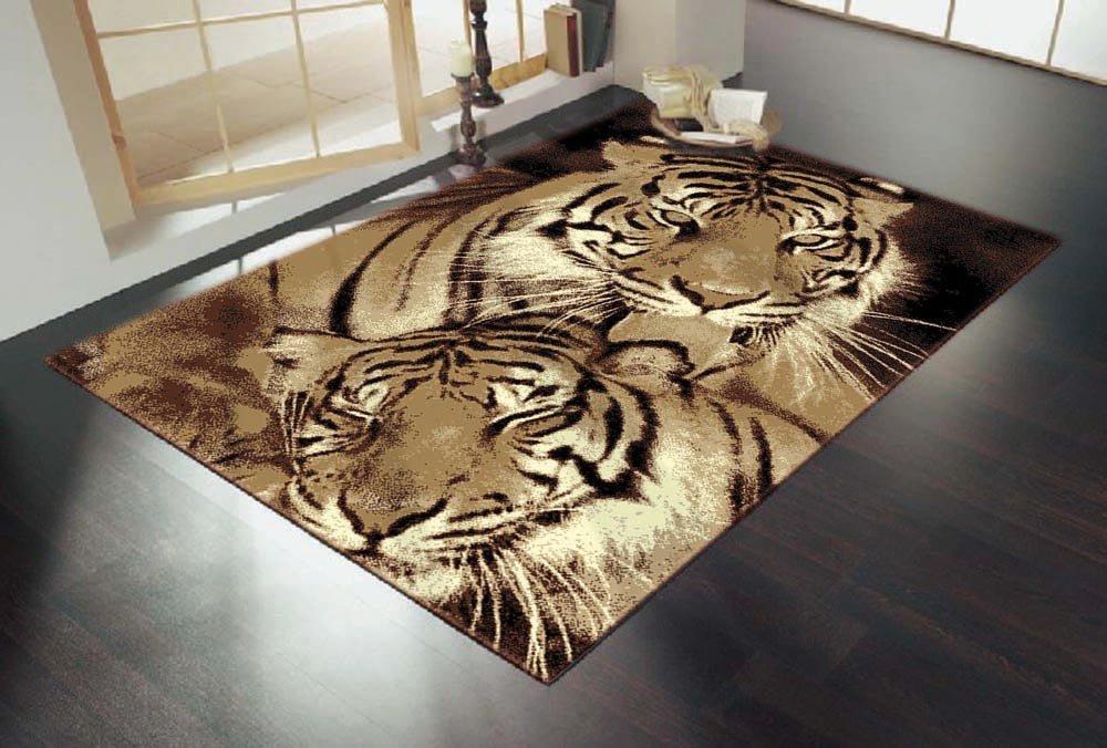 Rechteckiges Teppich Tiger Design Braun Grösse 160X220cm    Überprüfung und Beschreibung