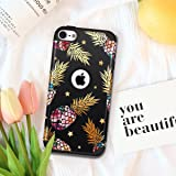 iPod 6 Case,iPod Touch 5 Case,Fingic Hybrid Slim Cover for Teenagers Colorful Pineapple&Foil Gold Shinny Star Pattern Case Protective Case for Apple iPod touch 5/6th Generation,Floral Pineapple/Black (Color: T049-03 Black)