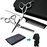 Hair Scissors - 6.88 inch /7 inch Professional Super Sharp Barber Scissors Set - Flat Regular Shears and Gear Thinning Shears - PU Leather Bag/Comb/Hair Cloth FOR FREE !!!