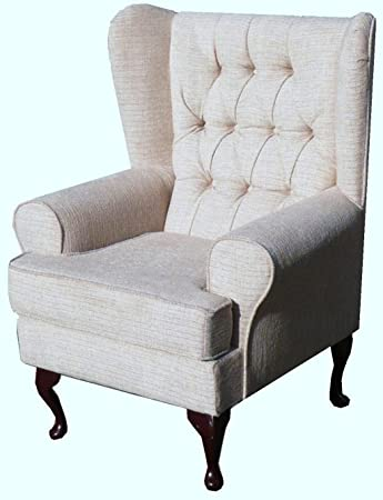Button Back Beige Chenille Fabric Queen Anne design wing back fireside high back chair. Ideal bedroom or living room furniture