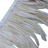 Sowder Rooster Hackle Feather Fringe Trim 10-12inch in Width Pack of 1 Yard(Ivory) (Color: Ivory)