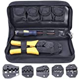 Amzdeal Crimping Tool Kit Ratchet Terminal Crimper Tool 20-2 AWG 5 Interchangeable Die Set for Insulated and Non-insulated Terminals with Storage Bag (Color: Yellow, Tamaño: 20-2 AWG)