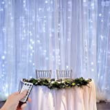 ZSTBT UL Safe 300 LED 9.8FT Linkable Curtain Lights Icicle Lights Fairy String Lights with 8 Modes for Christmas Wedding Party Family Patio Lawn Decoration (White) (Color: Remote White, Tamaño: 9.84ft x 9.84ft)