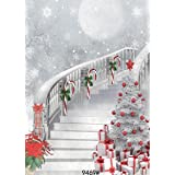 WOLADA 5x7FT Christmas Photography Backgrounds Snow Backdrops Christmas Stairs Background Studio Prop 9469 (Color: 9469 5x7FT, Tamaño: 5X7FT)