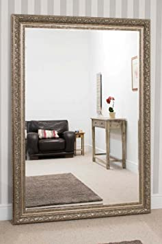 Extra Large Champagne Silver Elegant Handmade Bevelled Resin Mirror