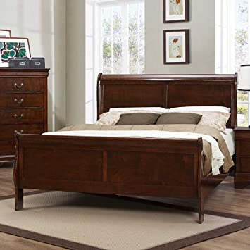 Homelegance Mayville Sleigh Bed In Brown Cherry - Queen