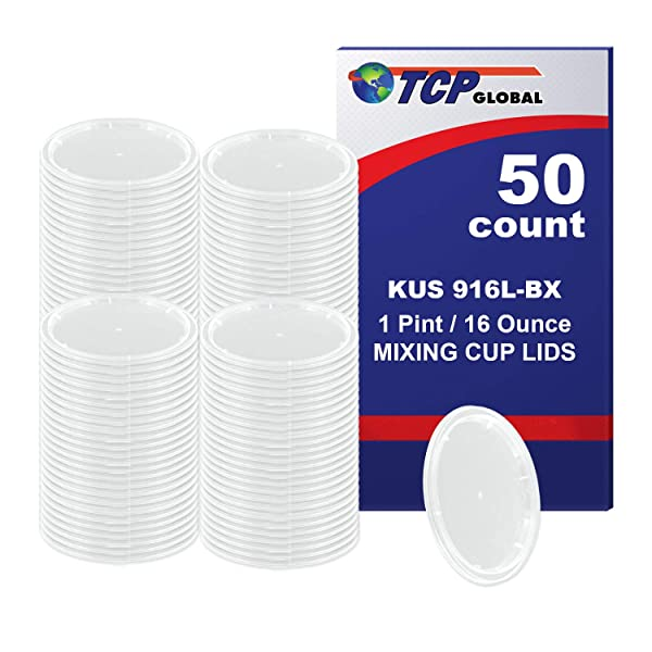Custom Shop /TCP Global (Box of 50 Lids - Pint Size) Exclusively fits TCP Global 16 Ounce Paint Mix Cups