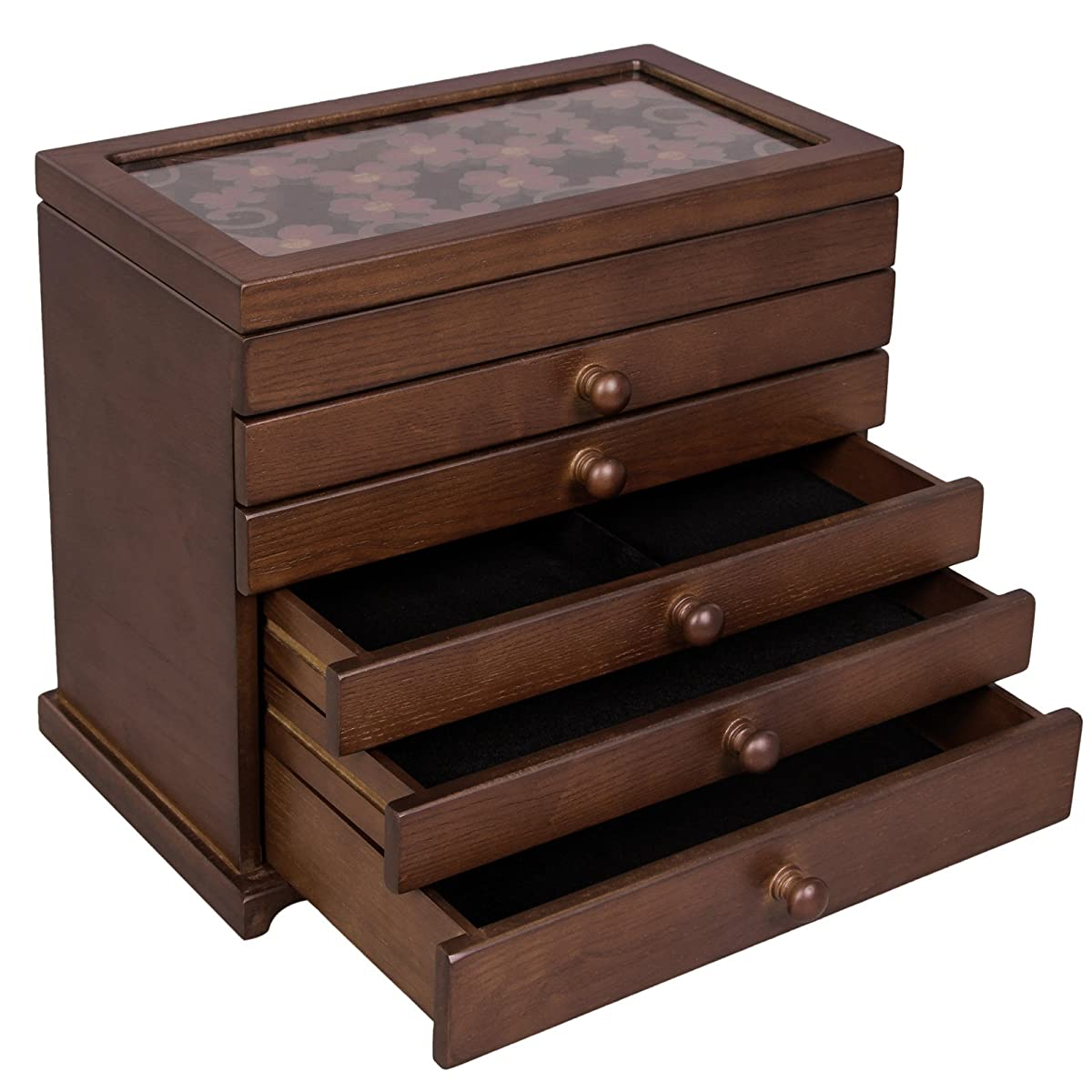 SONGMICS Large Jewelry Organizer Wooden Storage Box 6 Layers Case with 5 Drawers Gift for Mom,Dark Brown UJOW56W