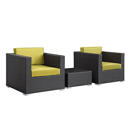 LexMod Burrow 3-Piece Espresso Patio Sectional Set with Peridot Cushions