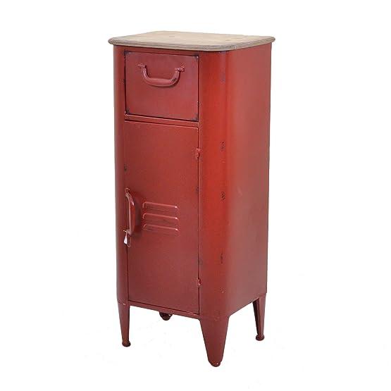Vacchetti Giuseppe 8032200000 Mobile Edimburgo, 1 Cassetto e 1 Anta, Metallo, Rosso, 43 x 33 x 98 cm