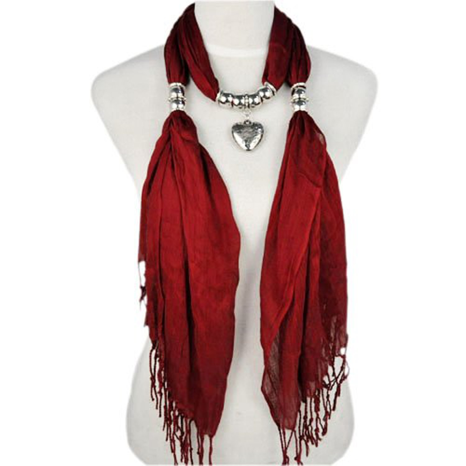 AllyDrew Heart Pendant Necklace Scarf Pendant Scarf, Maroon