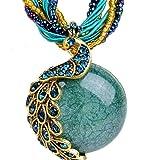 BOLY Women's Vintage Bohemian Style Phoenix Peacock Crystal Opal Pendant Necklace Dark Green
