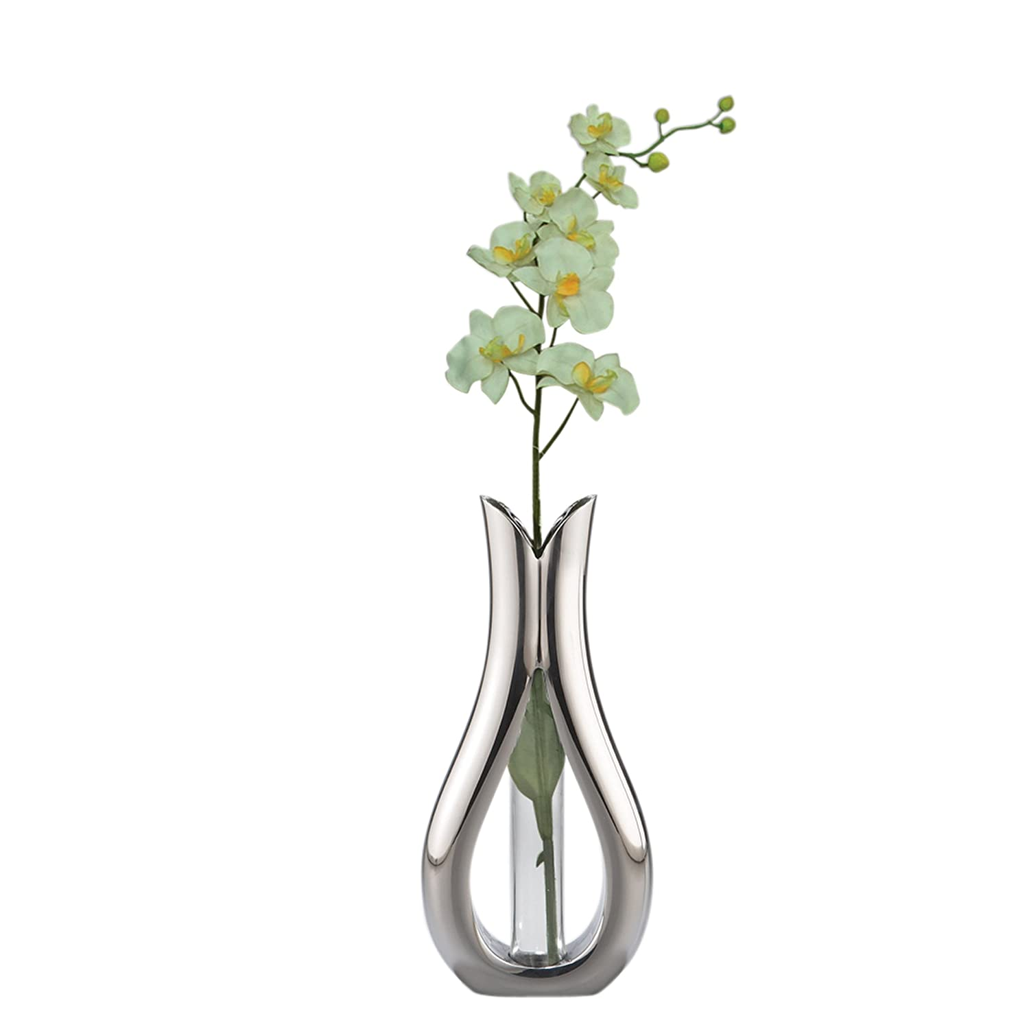 Nambe Tulip Bud Vase with White Orchid - Wholesale Home Decor