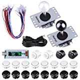 Arcade Gaming Kits, Quimat 2 Player Arcade Game DIY Kit with Zero Delay USB Encoder Board,Joysticks and Push Button for Mame Jamma & Other Fighting Games,Compatible with Windows and Raspberry Pi