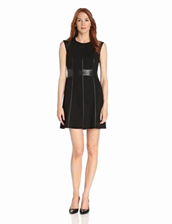 Bailey 44 Women's Caged Bird Cap Sleeve Ponte and Faux Leather Detail Dress, Black, Small