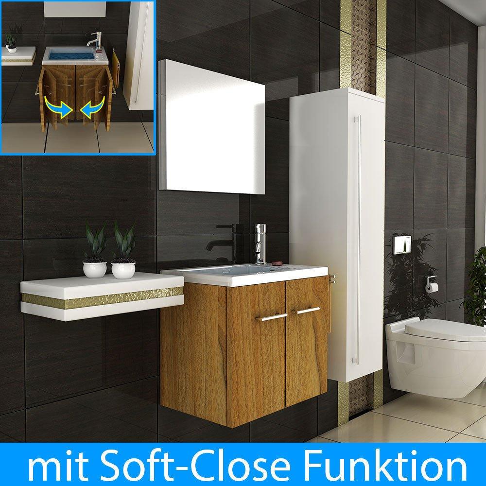 Becken mit Unterschrank und Spiegel Badezimmer Waschtisch wandhängend Waschplatz Lösung Gäste WC   Überprüfung und weitere Informationen