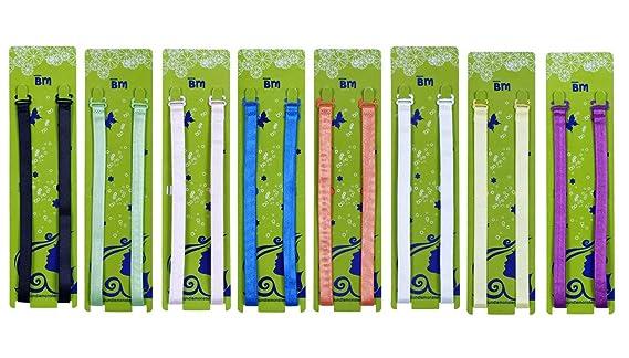 Bundle Monster 8pc Womens Solid Color Adjustable Bra Clip Strap Set Mix Colors