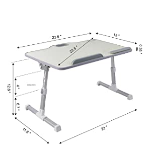 Kavalan Large Size Portable Laptop Table with Handle, Height & Angle Adjustable Sit and Stand Desk, Bed & Breakfast Table Tray, Foldable Notebook Stand Holder for Sofa Couch - Beige (Color: Beige Large)