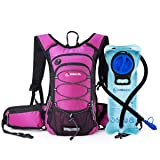 Miracol Hydration Backpack with 2L Water Bladder, Thermal Insulation Pack Keeps Liquid Cool up to 4 Hours, Prefect Outdoor Gear for Skiing, Running, Hiking, Cycling (Rose)